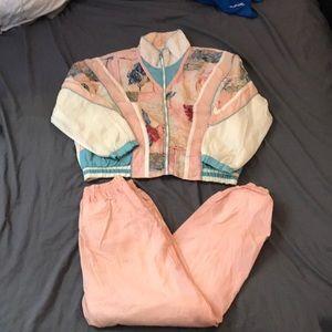 East West Vintage 2 Piece Windbreaker Track Suit S